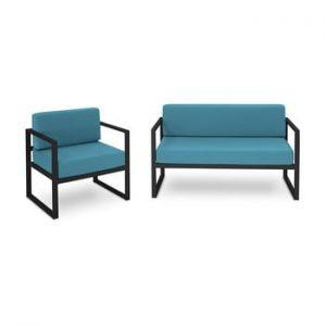 Set mobilier de grădină potrivit pentru 3 persoane Calme Jardin Nicea, albastru - negru