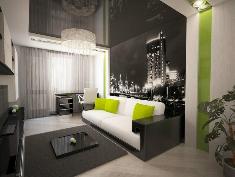 idee amenajare living modern cu perete negru cu imagine oras