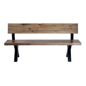Banca din lemn de stejar salbatic, cu picioare metalice Atena