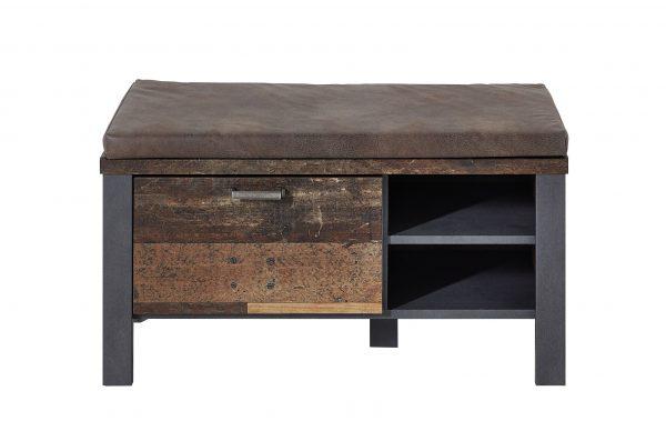 Banca tapitata cu piele ecologica, cu 1 sertar Chelsea Maro / Grafit, l94xA40xH49 cm