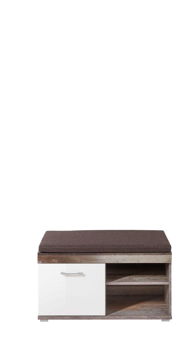 Banca tapitata cu stofa cu 1 usa Krone Maro / Alb, l90xA38xH46 cm