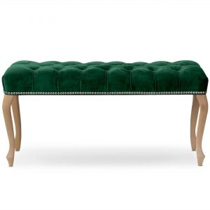 Banca tapitata cu stofa, cu picioare din lemn Ingrid Medium Verde / Fag, l100xA40xH49 cm