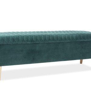 Banca tapitata cu stofa si spatiu de depozitare Ariana Velvet Verde, l129xA40xH45 cm