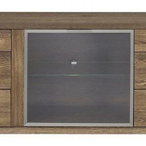 Comoda TV din lemn si furnir, cu 3 usi Negro Tall 26 Oak, l180xA42xH59 cm