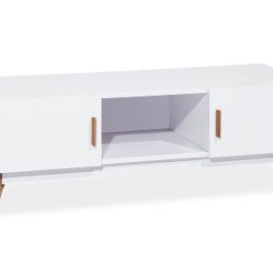 Comoda TV din MDF si lemn, cu 2 usi Milan Alb / Stejar, l120xA42xH45 cm
