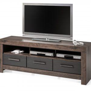 Comoda TV din pal, cu 3 sertare Blake Grafit / Stejar, l160xA45xH61 cm