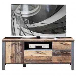 Comoda TV din pal, cu 3 sertare si 1 usa Chelsea Natural / Grafit, l154xA50xH62 cm