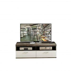 Comoda TV din pal si MDF, cu 1 sertar si 1 usa Krone Small Alb / Natur, l140xA48xH50 cm