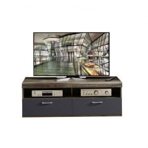 Comoda TV din pal si MDF, cu 1 sertar si 1 usa Krone Small Grafit / Natur, l140xA48xH50 cm