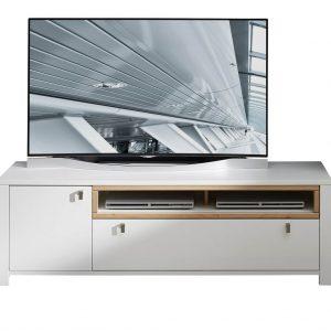 Comoda TV din pal si MDF cu 1 sertar si 1 usa, Selina Alb / Natur, l162xA47xH51 cm