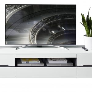 Comoda TV din pal si MDF, cu 1 sertar si 2 usi Dakota Large Alb, l190xA47xH53 cm