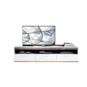 Comoda TV din pal si MDF, cu 1 sertar si 2 usi Krone Large Alb / Natur, l210xA48xH50 cm
