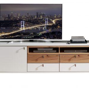 Comoda TV din pal si MDF cu 4 sertare si 1 usa, Selina Alb / Natur, l192xA47xH58 cm