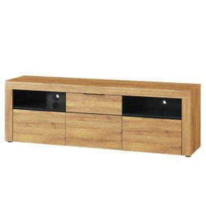 Comoda TV din pal cu 2 sertare si 1 usa Large Kama 25 Stejar / Negru, l171xA40xH56 cm
