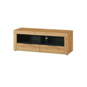 Comoda TV din pal cu 2 sertare Small Kama 24 Stejar / Negru, l119xA40xH44 cm