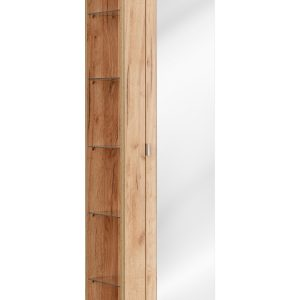 Dulap baie inalt cu 1 usa si oglinda, Capri Oak, l45xA33xH170 cm