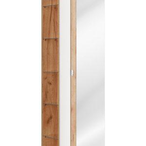 Dulap baie inalt cu 1 usa si oglinda, Capri White, l45xA33xH170 cm