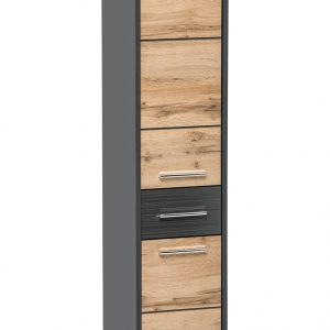 Dulap baie inalt cu 2 usi si 1 sertar, Ibiza Antracit, l30xA33xH135 cm