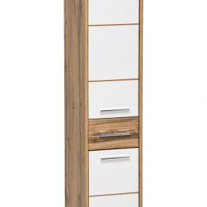 Dulap baie inalt cu 2 usi si 1 sertar, Ibiza White, l30xA33xH135 cm