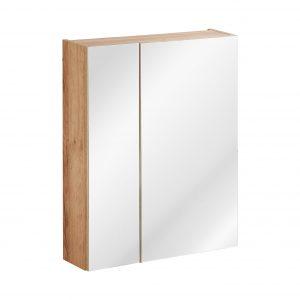 Dulap baie suspendat cu 2 usi si oglinda, Capri Oak, l60xA16xH75 cm