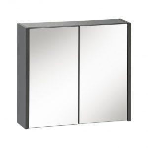 Dulap baie suspendat cu 2 usi si oglinda, Ibiza Antracit, l60xA16xH55 cm
