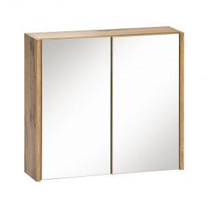 Dulap baie suspendat cu 2 usi si oglinda, Ibiza White, l60xA16xH55 cm