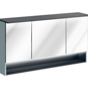 Dulap baie suspendat cu 3 usi si oglinda, Bahama Mint, l120xA25xH70 cm