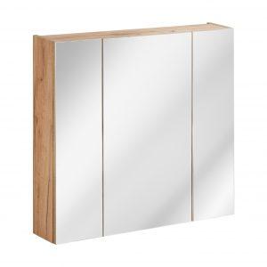 Dulap baie suspendat cu 3 usi si oglinda, Capri Oak, l80xA16xH75 cm