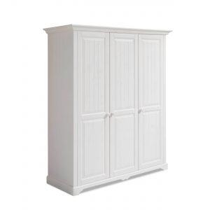 Dulap din lemn de pin si pal, cu 3 usi si 1 sertar, pentru copii si tineret Pallas Junior Alb, l171xA65xH205 cm