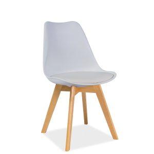 Scaun din plastic cu sezut tapitat cu piele ecologica, cu picioare din lemn Kris White / Beech, l49xA41xH83 cm