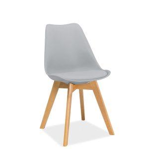 Scaun din plastic cu sezut tapitat cu piele ecologica, cu picioare din lemn Kris Light Grey / Beech, l49xA41xH83 cm