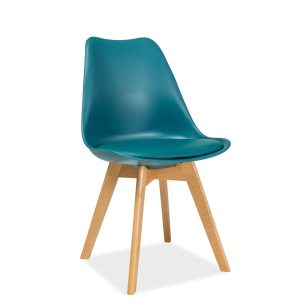 Scaun din plastic cu sezut tapitat cu piele ecologica, cu picioare din lemn Kris Teal / Beech, l49xA41xH83 cm