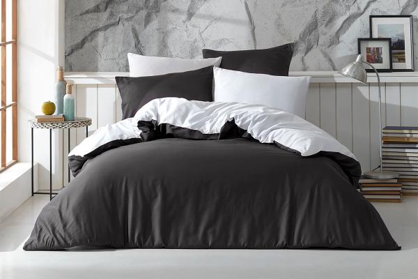 Lenjerie de pat Satin The Bed Set by Cadar Antracit / Alb-2 pers-220 x 200 cm