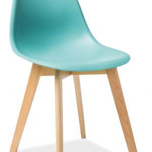 Scaun din plastic, cu picioare din lemn Moris Mint / Beech, l46xA38xH85 cm