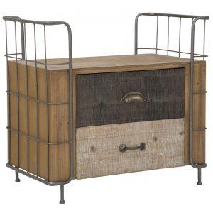 Noptiera din lemn si metal, cu 2 sertare Express Natural, l71,5xA43,5xH67 cm