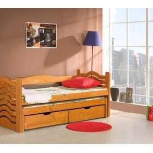 Pat suprapus din lemn de pin, cu 2 sertare pentru copii Mikolaj, 200 x 90 cm