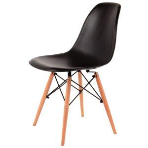 Scaun din plastic cu picioare din lemn Enzo Black / Beech, l43xA42xH83 cm