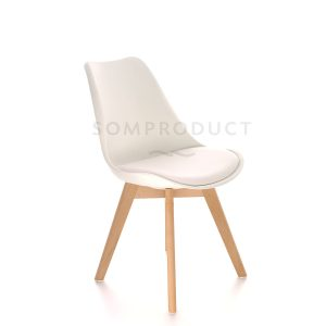 Scaun din plastic cu picioare din lemn si sezut tapitat cu piele ecologica Sven White, l46xA43xH80 cm