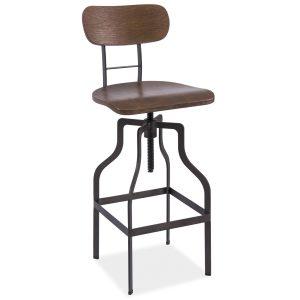 Scaun de bar din lemn, cu picioare metalice Drop Nuc / Grafit, l35xA42xH89-113 cm