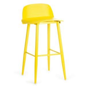 Scaun de bar din plastic, cu picioare metalice Roxie Yellow, l45xA42xH75cm
