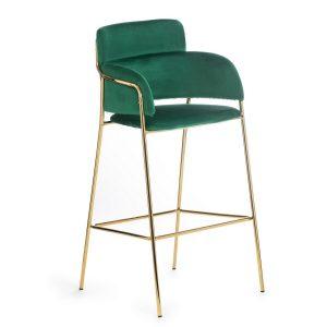 Scaun de bar tapitat cu stofa si picioare metalice Vera Verde, l47xA43H106 cm