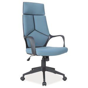 Scaun de birou ergonomic tapitat cu stofa Riley Albastru / Negru, l63xA46xH114-124 cm