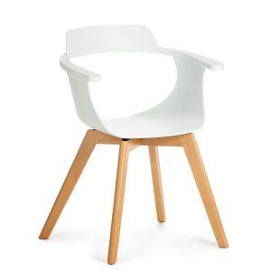Scaun din plastic cu picioare de lemn Alan White, l51xA60xH80 cm