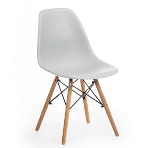 Scaun din plastic cu picioare de lemn Dante Grey, l48xA46xH82 cm