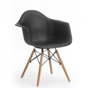 Scaun din plastic cu picioare de lemn Echo Black, l64xA60xH81 cm
