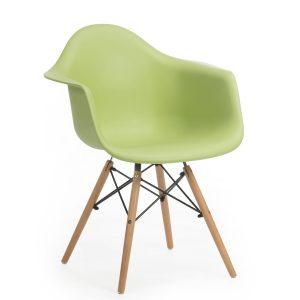 Scaun din plastic cu picioare de lemn Echo Green, l64xA60xH81 cm