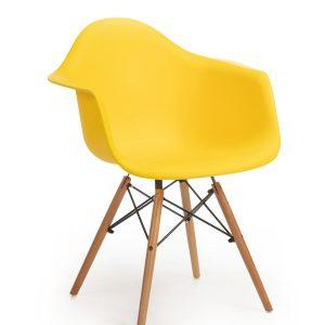 Scaun din plastic cu picioare de lemn Echo Yellow, l64xA60xH81 cm