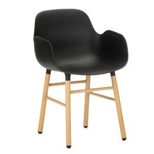 Scaun din plastic cu picioare de lemn Wayne Black, l55xA56xH80 cm