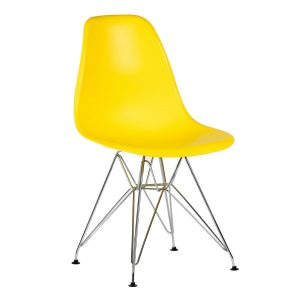 Scaun din plastic cu picioare de metal Lois Metal Yellow, l46xA37xH81 cm