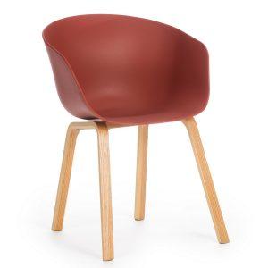 Scaun din plastic cu picioare din lemn Iris Caramiziu, l55xA56xH80 cm
